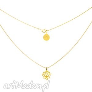 ręczne wykonanie naszyjniki złoty modowy naszyjnik symbol kwiat lotosu lotos łańcuszek żmijka fashion