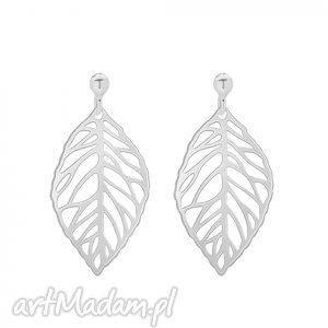 srebrne kolczyki z ażurowymi liśćmi - srebrne kolczyki, minimalistyczne