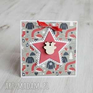 kartka świąteczna z reniferem po godzinach - czerwone boże narodzenie