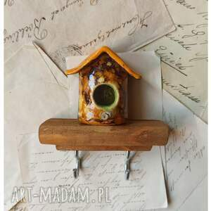 hand-made wieszaki wieszak z budką dla ptaszka