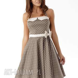 Piękna rozkloszowana sukienka beżowa w groszki, sukienka-retro, sukienka-pin-up