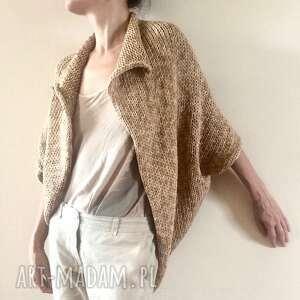 swetry kardigan kokon z grubej bawełnianej cieniowanej przędzy, sweter