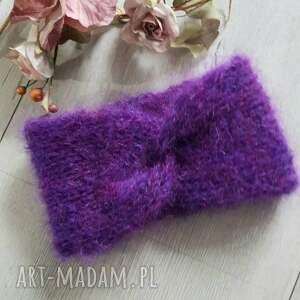 opaski fioletowa opaska podwójnie robiona moher, zimowa, turban