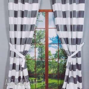 dekoracje zasłona adela czerń-biel, zasłona, zasłonka, krata, wiązanie