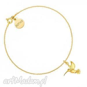 złota bransoletka z kolibrem - zawieszka, koliberek, srebro, modny