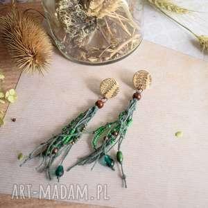 wiszące kolczyki z zielonym lnem, boho, boho biżuteria, koczyki
