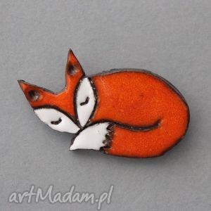 lisek-broszka ceramiczna - skandywaski, prezent, minimalizm, design, urodziny, jesień