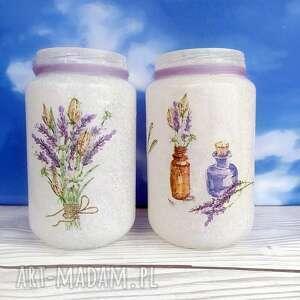handmade dekoracje lawenda. Dekoracyjne słoiczki w stylu prowansalskim. Kolekcja lavendel
