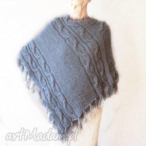 Ponczo handmade, ręcznie robione z wełny, ponczo, ręcznie,