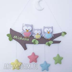 Prezent Personalizowana dekoracja Sowia Rodzinka, girlanda, sowy, prezent, dziecko