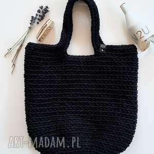 damska torba shopperka czarna szydełkowa, damska, torba, shopperka, szydełkowa