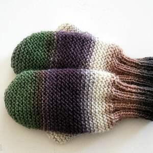 Wełniane rękawiczki, mitenki, na-drutach, dziergane,
