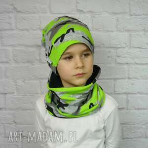 bukiet-pasji cienka czapka i komin - bawełna chłopak, wiosenna