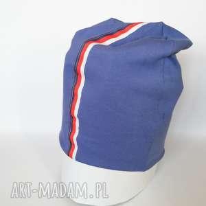 niebieska dzianinowa czapka lampasówka unisex - lampasy, sportowa, bieganie, bawelna