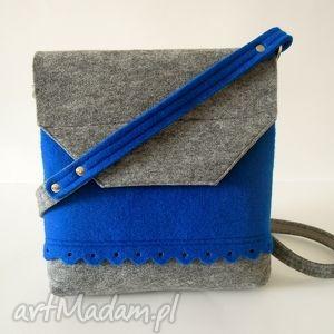 na ramię filcowa torebka z falbanką- 2 kolory- szara niebieskim, filc, folk