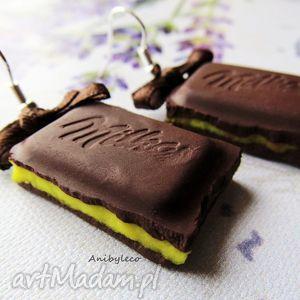 kolczyki czekoladki cytrynowe, kolczyki, czekolada, czekoladki, fimo, modelina