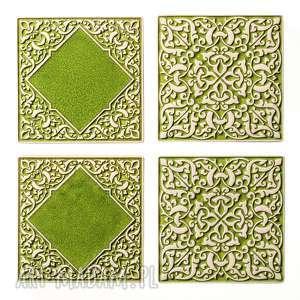 dekory jasno-zielone do zawieszenia, dekory, kafle, płytki, marokańskie