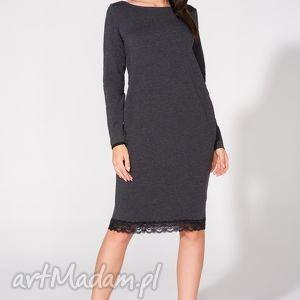 Sukienka z koronką, T145, ciemnoszara, sukienka, dzianina, dresowa, bawełna