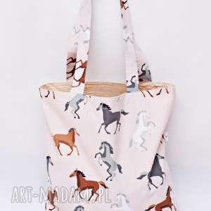 ręcznie robione torba na zakupy shopperka ekologiczna zakupowa ramię bawełniana konie