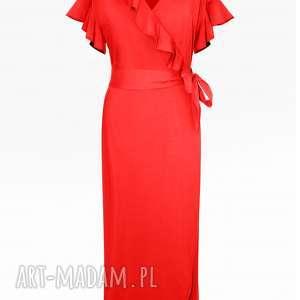 czerwona sukienka maxi z kokardą, kopertowa, maxi, boho, falbankami sukienki