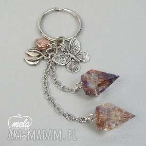 0317~mela~ brelok do kluczy z metalu i żywicy, brelok, kryształki, żywica, epoksyd