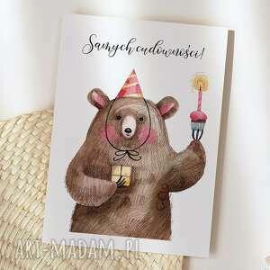 ręcznie wykonane kartki kartka urodzinowa - samych cudowności miś