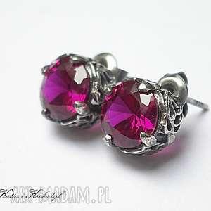 Koronkowe /ruby/ - kolczyki, srebro, cyrkonie, sztyfty, koronkowe