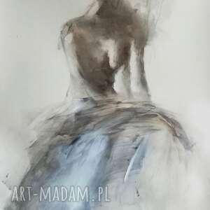 z bielą 81x57, duży obraz do salonu, grafika kobieta, nowoczesna