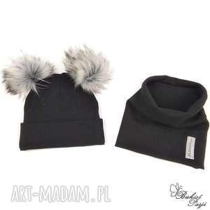handmade czapki komplet na jesień, czapka i komin - kolor: czarny