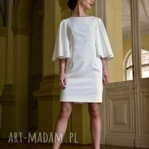 KOKTAJLOWA SUKIENKA / ECRU - MINERVAH, prosta-sukienka, szeroki-rękaw, falbany, mini