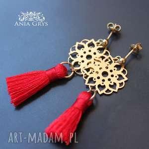 Kolczyki pozłacane z rozetą i chwostem anna grys boho, czerwone