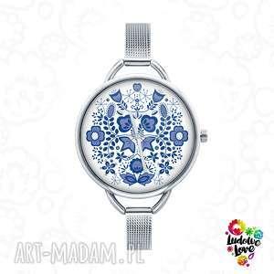 Prezent Zegarek z grafiką MODRY, folk, kujawy, kujawskie, etniczne, ludowe, prezent
