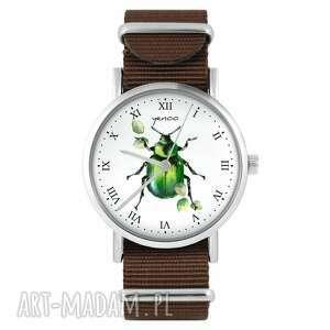 zegarki zegarek yenoo - zielony żuczek brązowy, nylonowy, zegarek, nylonowy