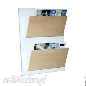 SET4 - Organizer na ścianę, drewniany Stojak gazety, gazetnik, gazetownik