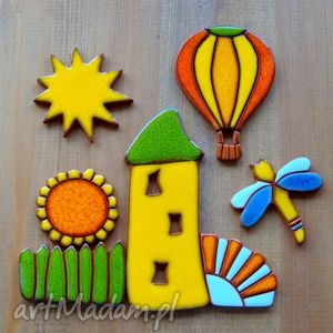 ceramiczny obrazek magnetyczny, obrazek, kolorowy, radosny, wesoły, wiosenne, magnesy