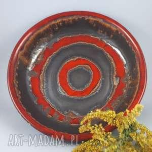 handmade ceramika misa czerwone kręgi