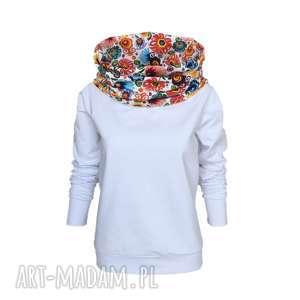 Biała bluza z folkowym kominokapturem, folk, biała-bluza, bluza-z-kominem