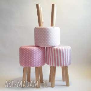 pufa różowe grochy 2 - 45 cm, puf, stołek, taboret, ryczka, siedzisko, hocker