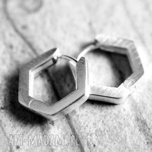 925 Srebrne kolczyki Plaster miodu , srebro, srebrne, 925, kolczyki, plaster,