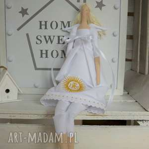 ręcznie zrobione lalki pamiątka komunii świętej anio&#322
