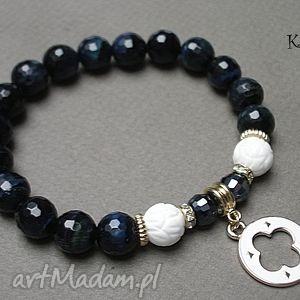 tygrysie oko - navy blue /29 01 15/, tygrysie, kamienie, muszla, kryształki