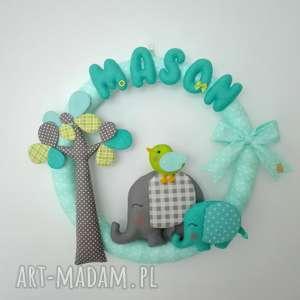 personalizowana girlanda słoniki, girlanda, dziecko, pokoik, filc, prezent, słoń