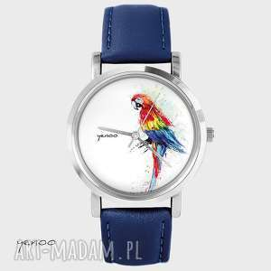 Prezent Zegarek, bransoletka - Czerwona papuga granatowy, skórzany, zegarek