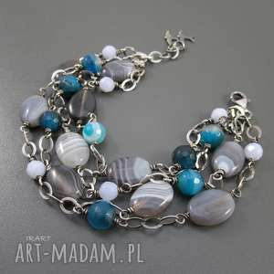 agat szaro - niebieski, srebro, agat, pod choinkę prezent