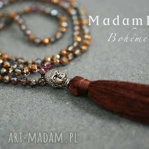 bohme buddha długi naszyjnik z frędzlami brązowy - biżuteria, berlin