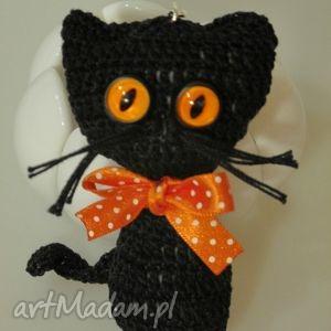 breloki breloczek czarny kot, kotek, breloczek, szydełkowy