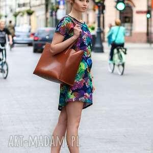 tuniki sukienka/tunika fiore - blu, sukienka, tunika, jesień, motyw, print