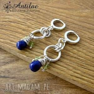 kolczyki lapis lazuli, peridot, srebro, długie kolczyki