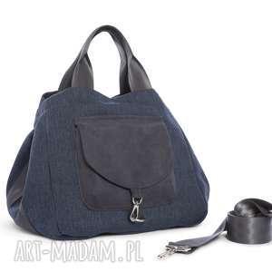 wyjątkowy prezent, na ramię torba big duo xl - granat, wielofunkcyjna, stylowa