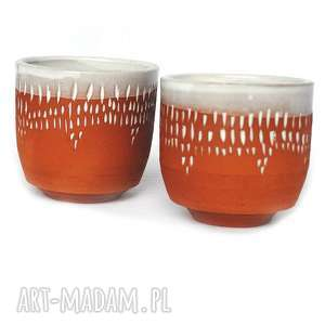 ręczne wykonanie ceramika ceramiczne czarki 2 szt - strugane iv